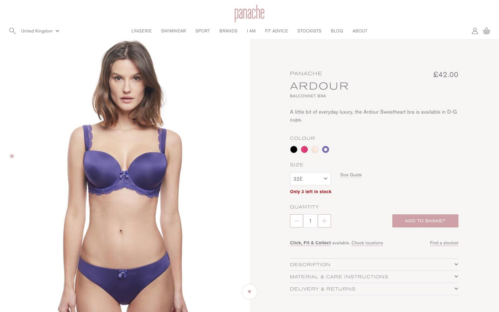 Panache website product view