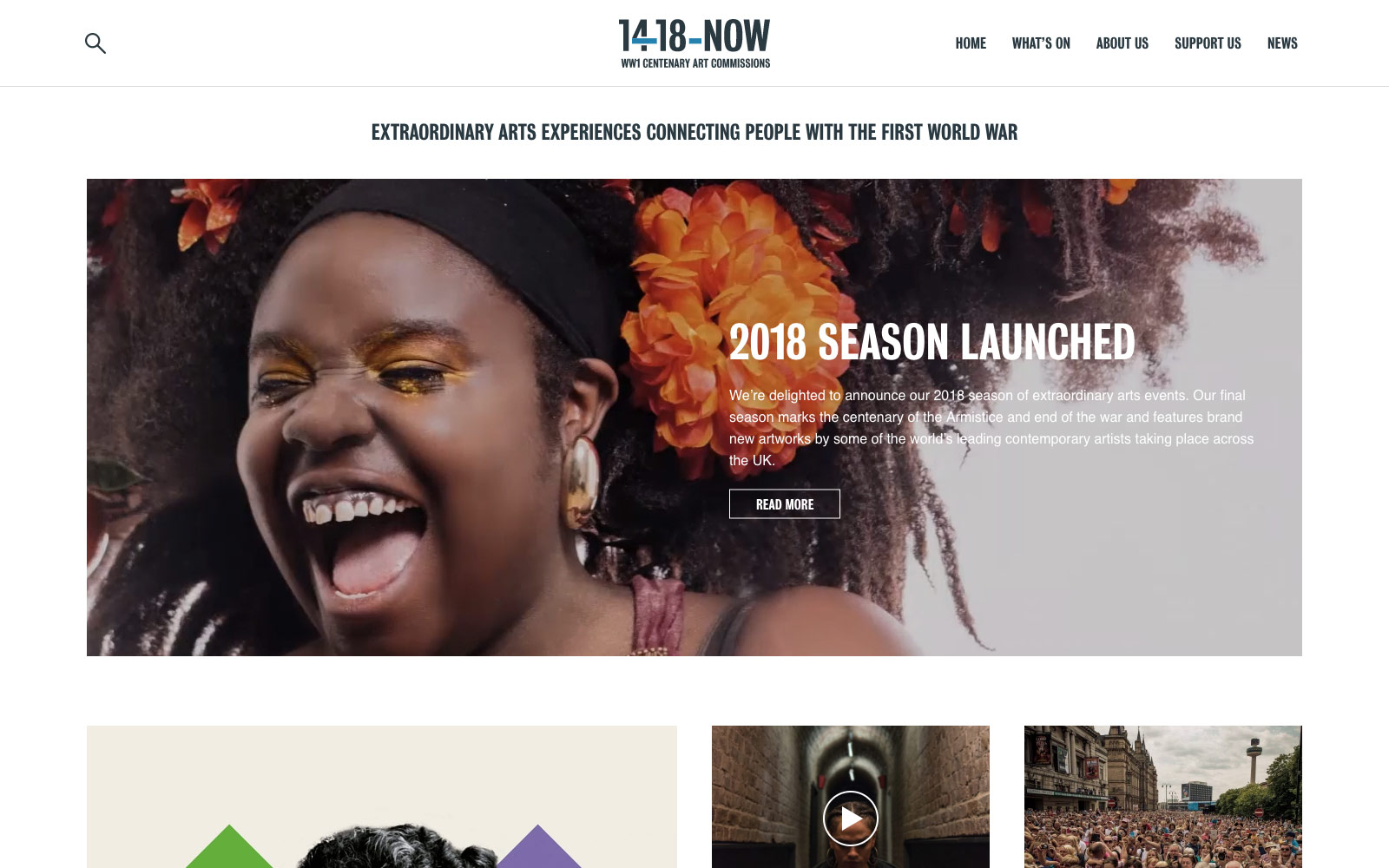 14-18 NOW website homepage