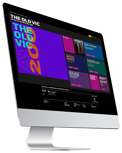 The Old Vic website homepage on iMac